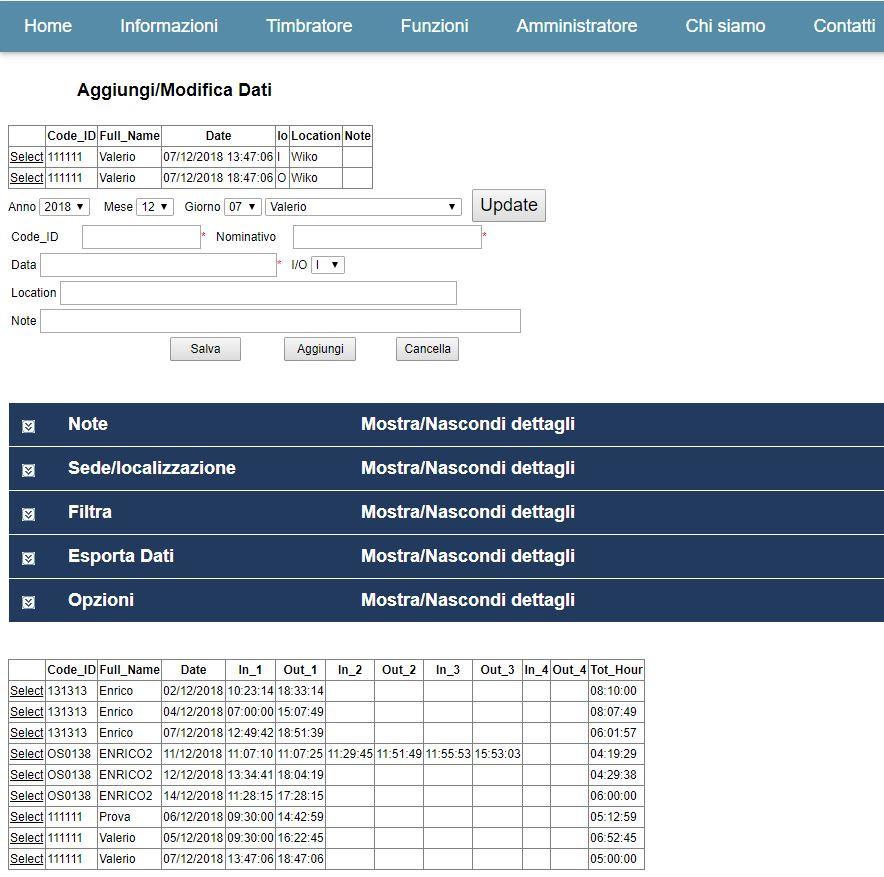 Timbracartellini RFID Presenze PI report online