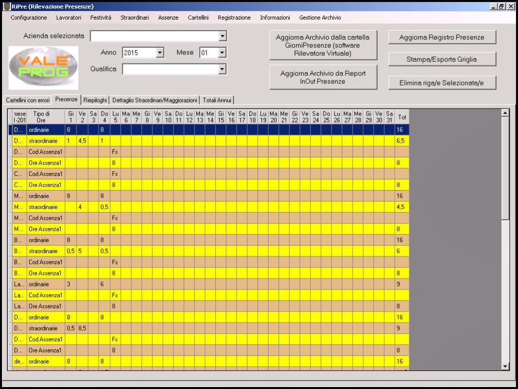 Timbracartellini RFID Presenze PI Report completo